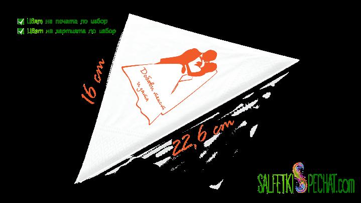 Салфетка целувка между младоженци 16x22.6cm
