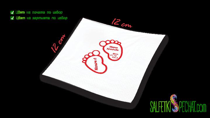 Салфетка Честито бебе - стъпчици 12x12 cm