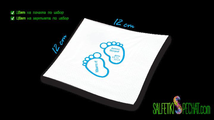 Салфетка Честито бебе - краченца 12x12 cm