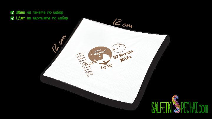 Салфетка Честито бебе - количка данни 12x12сm