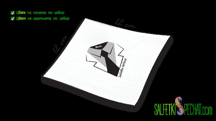 салфетки мъжки рожден ден - вратовръзка 12x12cm