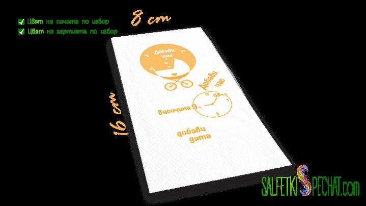 Салфетка Честито бебе - количка момиче данни 8x16сm
