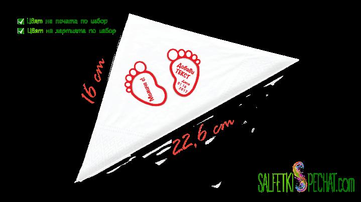 Салфетка Честито бебе - стъпчици 16x22.6 cm