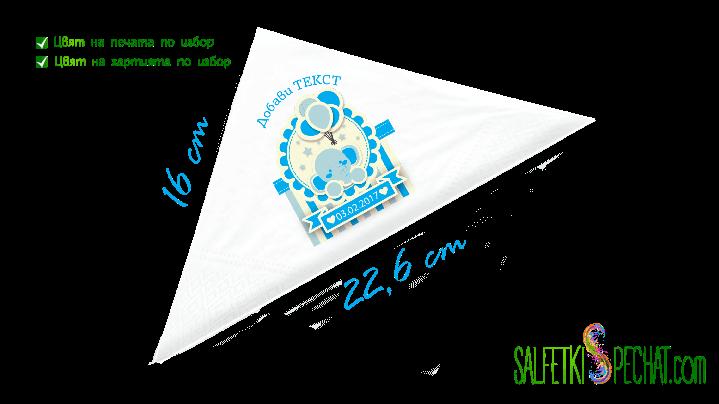 Салфетка Честито бебе - слонче 16x22.6 cm