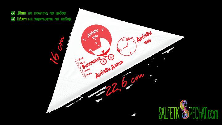 Салфетка Честито бебе - количка данни 16x22.6 сm