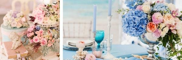 Аранжировки с цветя върху поднос или купа за шампанско