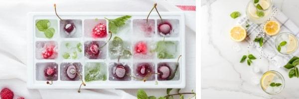 Замръзнали плодове във формички за лед