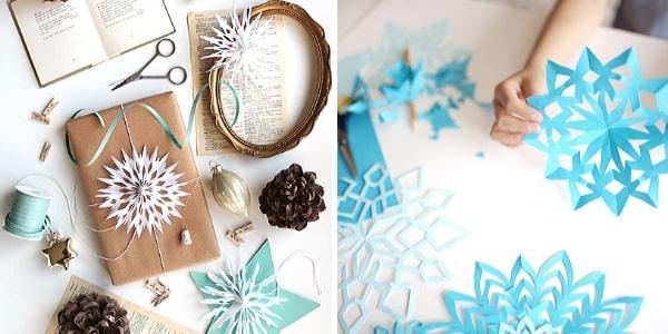 Хартиени снежинки за декорация на подаръци