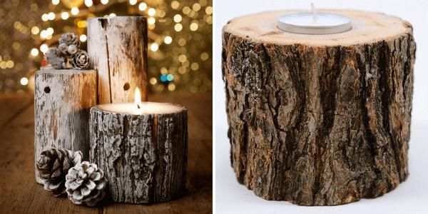 Коледни естествени свещници от дърво