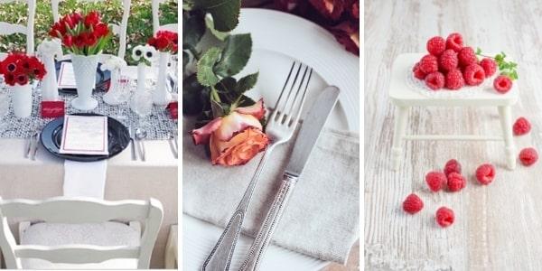 3 трапези с червен акцент - макове, рози, малини