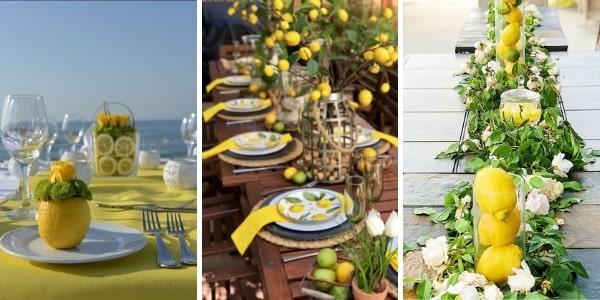 3 изображения на лятна трапеза с акцент - лимони