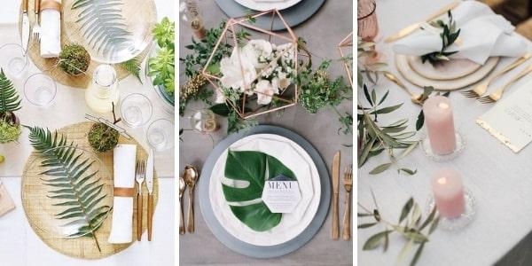 Аранжировка на масата с три вида листа